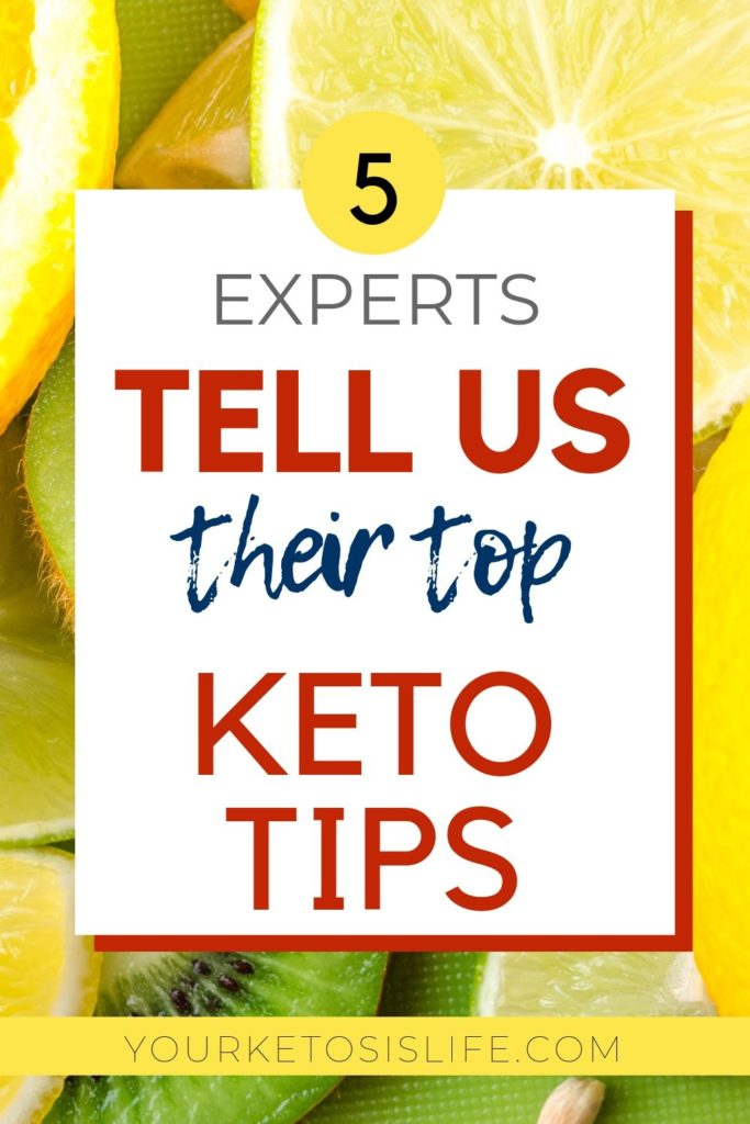 5 experts tell us their top keto tips pinterest cover image.