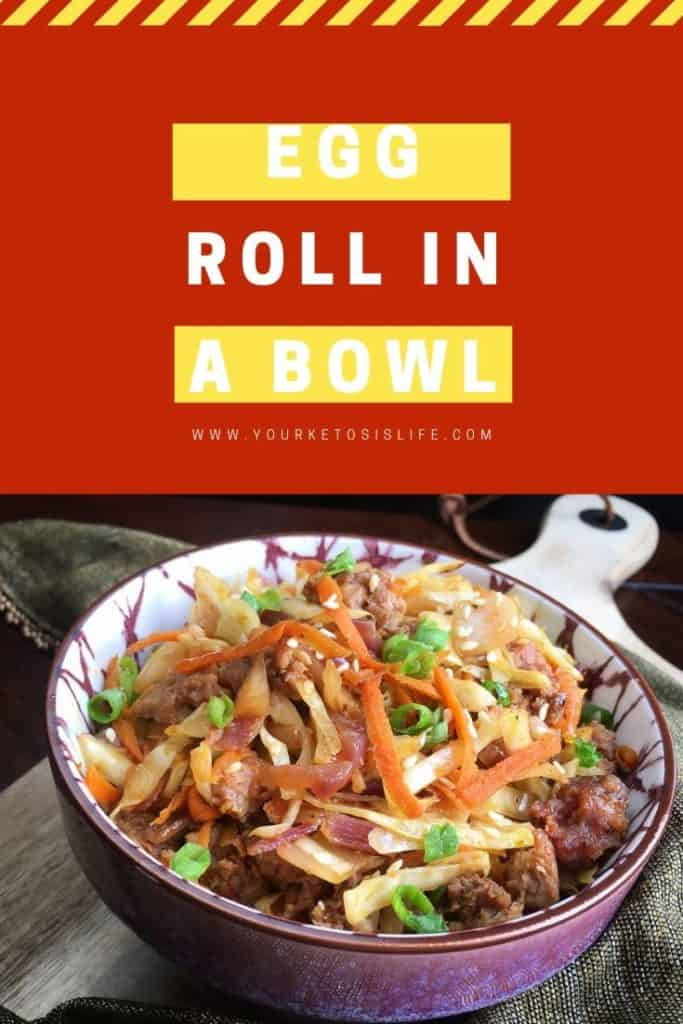 Egg roll in a bowl pinterest cover image.
