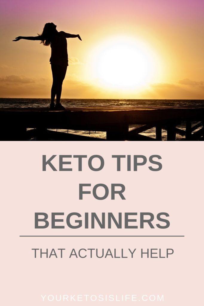 keto tips for beginners pinterest cover image.