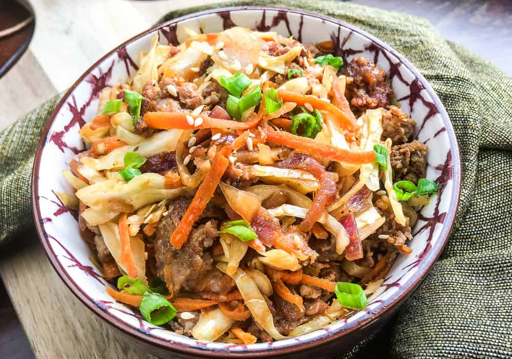 egg roll in a bowl.